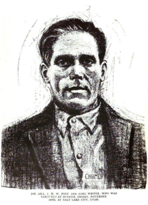 Joe Hill, charcoal, by L. Stanford Chumley, ISR, Dec 1915