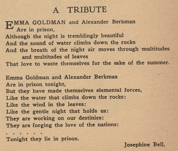 Josephine Bell, A Tribute, Masses, Aug 1917