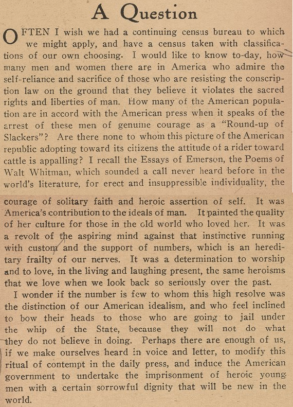 Max Eastman, A Question, Masses, Aug 1917