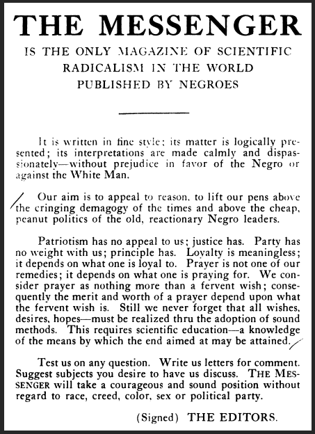 Messenger, Ad Scientific Radicalism, Nov 1917