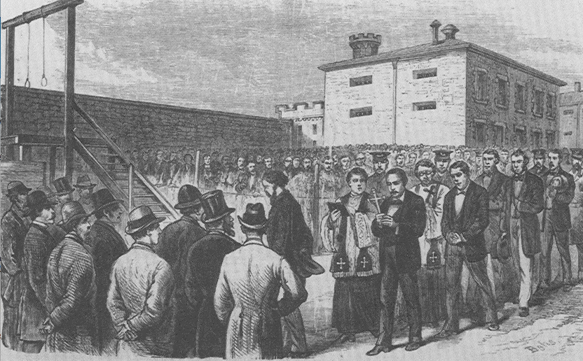 Molly Maguires marching to their death, Frank Leslies Illustrated Newspaper, July 7, 1877.