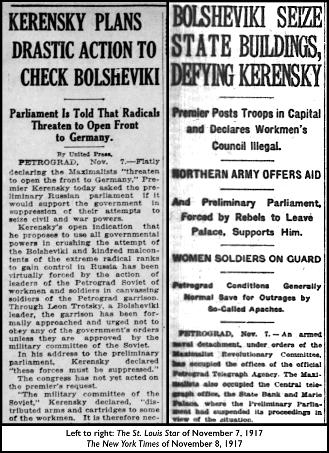 Rss Rev, St L Str Nov 7, NYT Nov 8, 1917