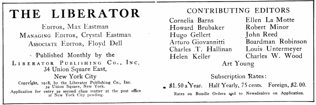 The Liberator, Ed by Max Eastman, April 1918