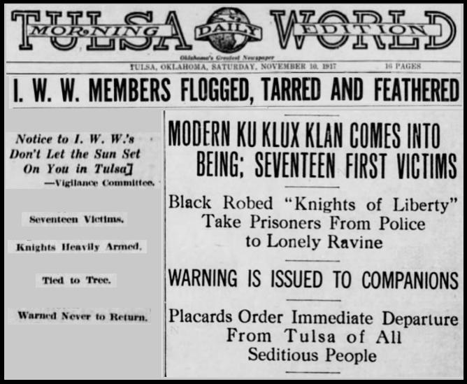 WWIR, IWW Flog Tar Feather, Morn Tulsa Dly Wld, Nov 10, 1917