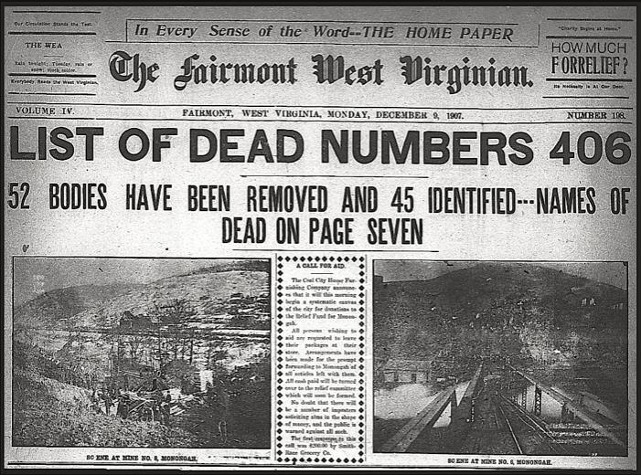 Monongah Mine Disaster, Fairmont West Virginian, Dec 9, 1907