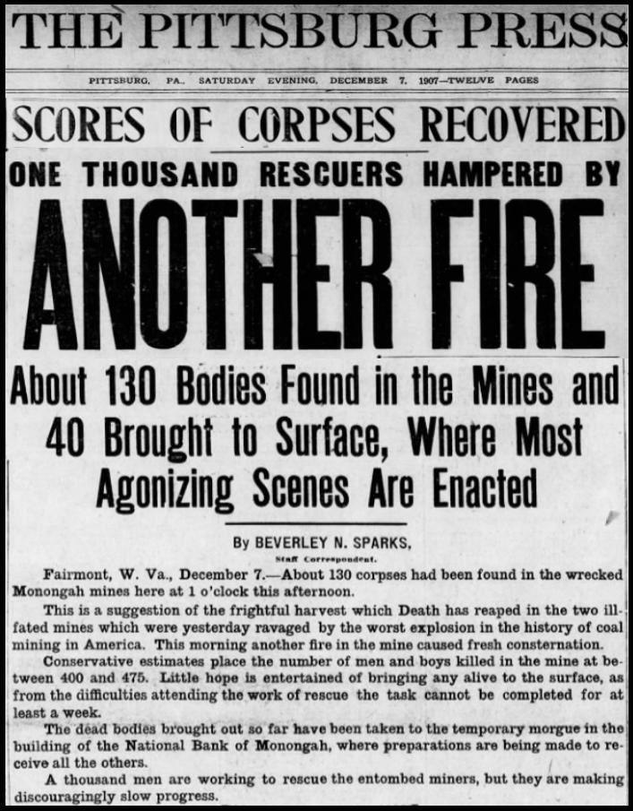 Monongah Mine Disaster, Ptt Prs, Dec 7, 1907