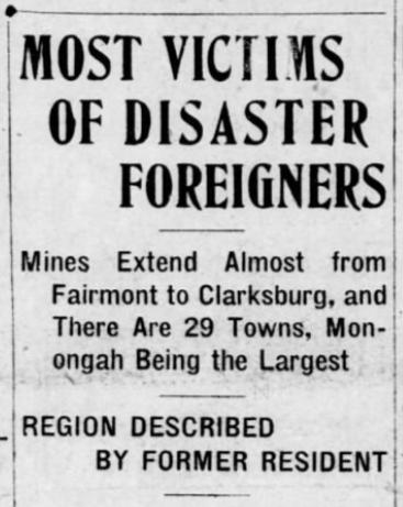 Monongah MnDs, Foreigners, Ptt Prs, Dec 6, 1907
