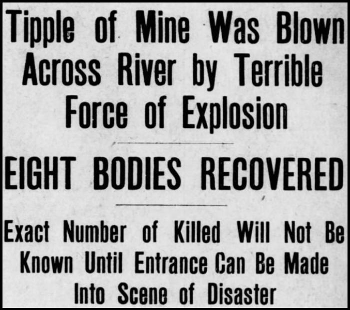 Monongah MnDs, Tipple Blown Across River, Ptt Prs, Dec 6, 1907