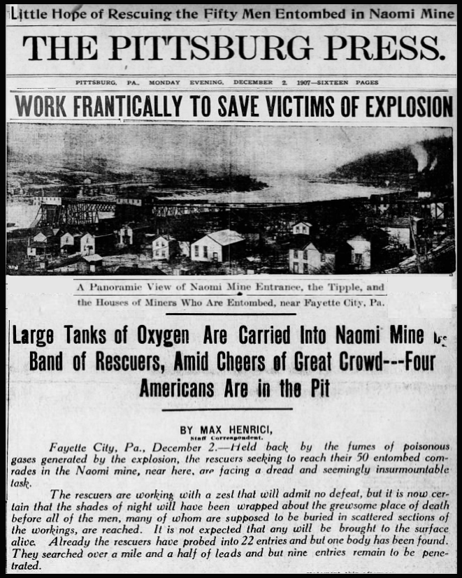 Naomi Mine Disaster, Fayette Cty PA, Ptt Prs, Dec 2, 1907