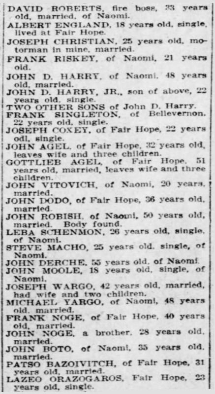Naomi Mine Disaster the dead, Fayette Cty PA, Ptt Prs, Dec 2, 1907