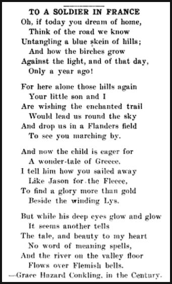 UMWJ p3, Poem To Soldier in France, Dec 27, 1917