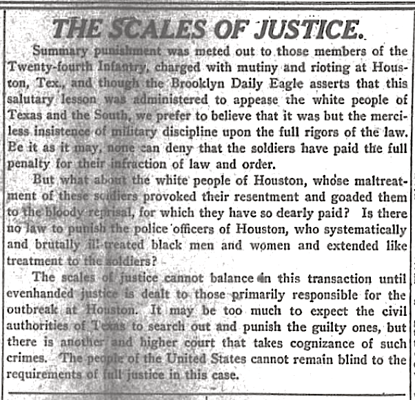 """""""Scales of Justice"""" re Hangings 24th Infantry, NY Age, Dec 22, 1917"""