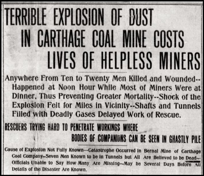 Bernal Mine Disaster Carthage NM, Abq Ctz p1, Dec 31, 1907