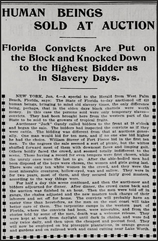 Convicts Sold as Slaves in Florida, SF Call, Jan 7, 1898