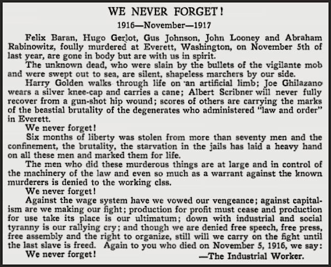 Everett Massacre We Never Forget, ISR Jan 1918