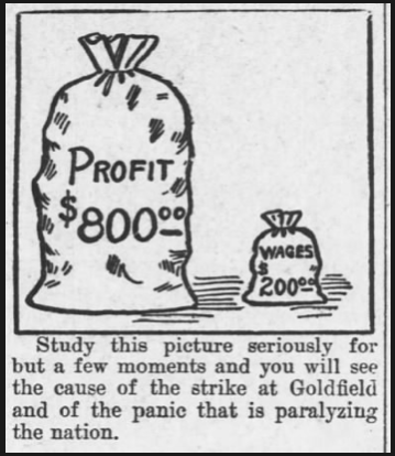 Goldfield Strike, Profits Wages, AtR p4, Dec 28, 1907
