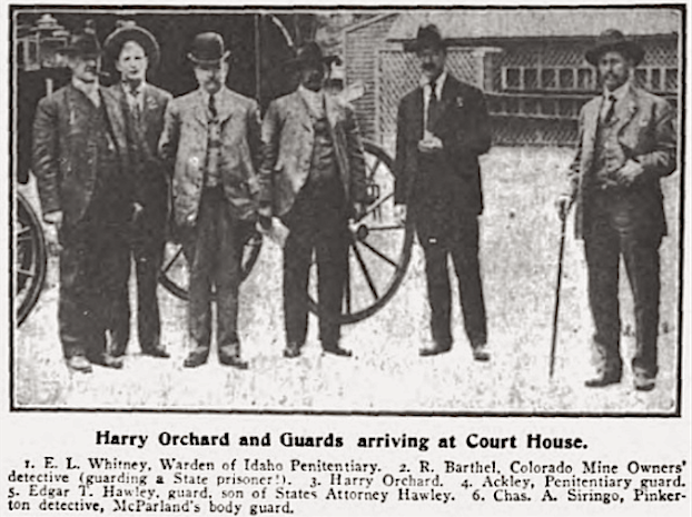 Boise Court House, Orchard and Guards arrive, Wilshires July 1907
