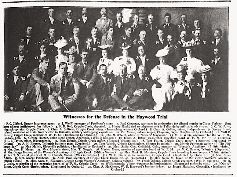 Boise Witnesses for the Defense in the Haywood Trial, Wilshires Aug 1907