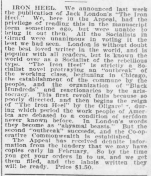 Iron Heel review, AtR feb 1, 1908