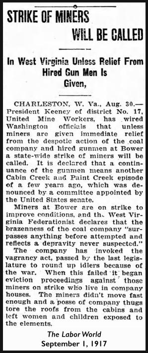WV Miners Strike, Gunthugs, Labor World, Sept 1, 1917